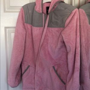 Pink fuzzy north face jacket
